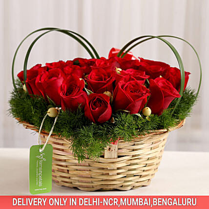 roses basket arrangement online