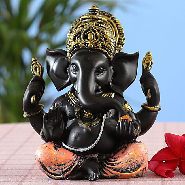 online Elegant Black Shine Ganesha Idol