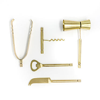 Elegant Brass Plated Bar Tools Set