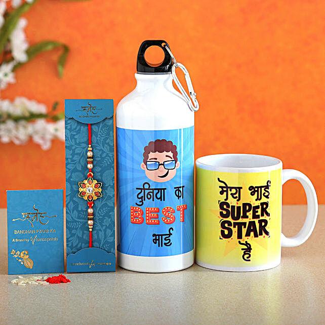 Elegant Meenakari Rakhi With Mug and Bottle
