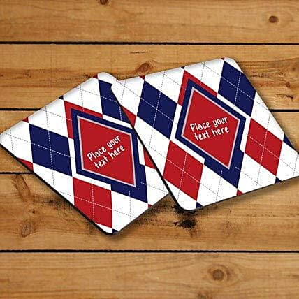 Elegant Personalized Coasters-Red and blue personalized coasters,4 size 3.8 x 3.8 personalized coasters:Coasters