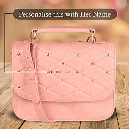 Pink Studded Bag Online for Women