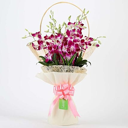 Elegant Purple Orchids Bouquet:Send Gifts for 75Th Birthday