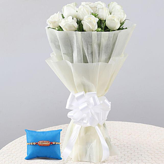 Online Elegant White Roses Bouquet & Capsule Rakhi