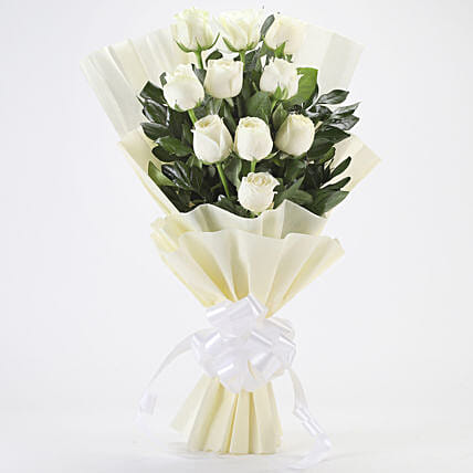 Elegance Forever - Bunch of 10 white roses.:Condolence