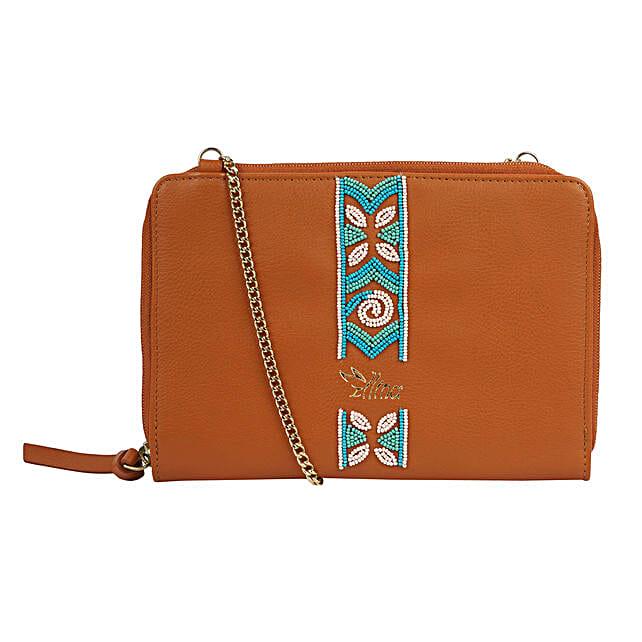 Embroidered Sling Bag- Brown