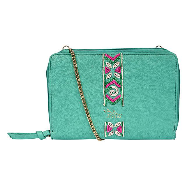 Embroidered Sling Bag- Green