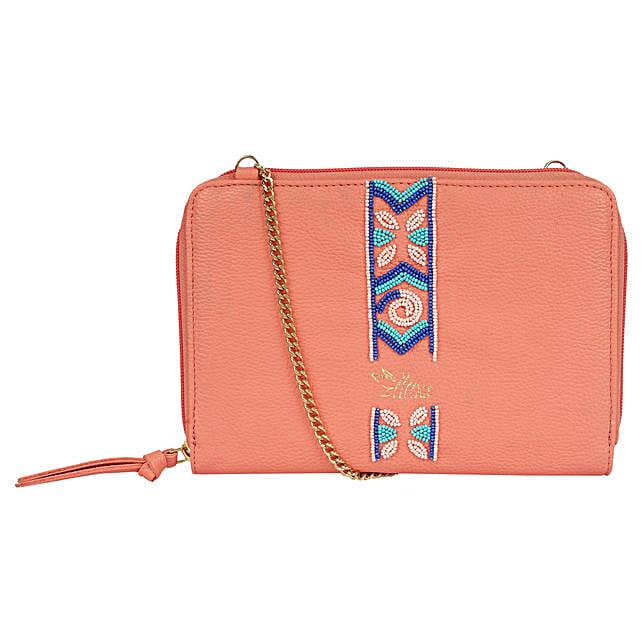 Embroidered Sling Bag- Pink
