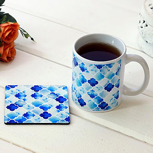 Enamel Print White Ceramic Mug With Coaster