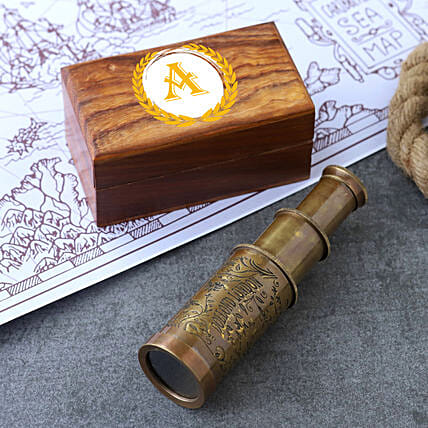 Engraved Telescope With Personalised Wooden Box:Personalised Antique gifts