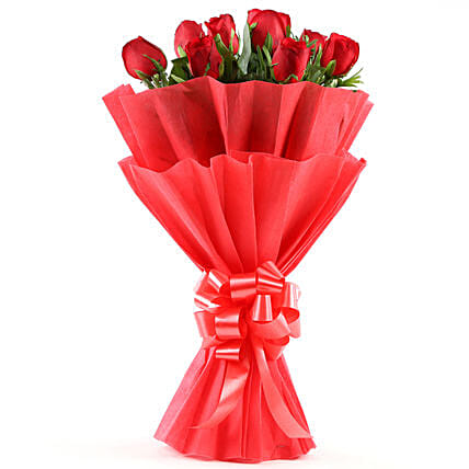 Enigmatic 8 Red Roses Flowers gifts:House Warming Gifts