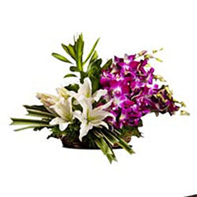 Esteemed Ensemble - 4 Oriental white lilies and 6 purple orchids.