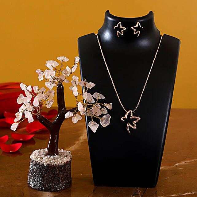 Estele Starry Rose Gold Pendant Set And Wish Tree