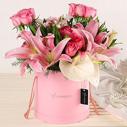 Online Lilies And Roses Bouquet:Flower Delivery Mothers Day