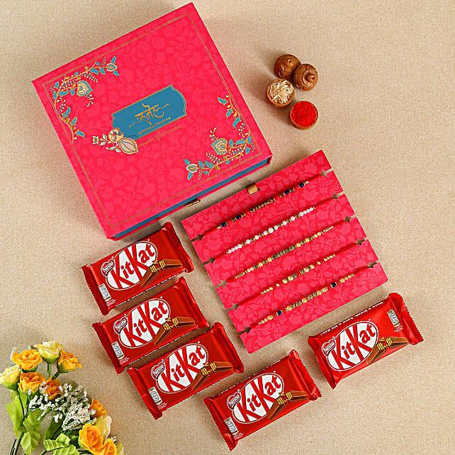 Ethnic Beads & Pearls Rakhi Set With Chocolates:Send Set of 5 Rakhi