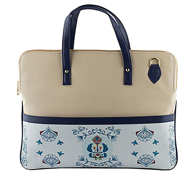 Online Ethnic Blue Laptop Bag