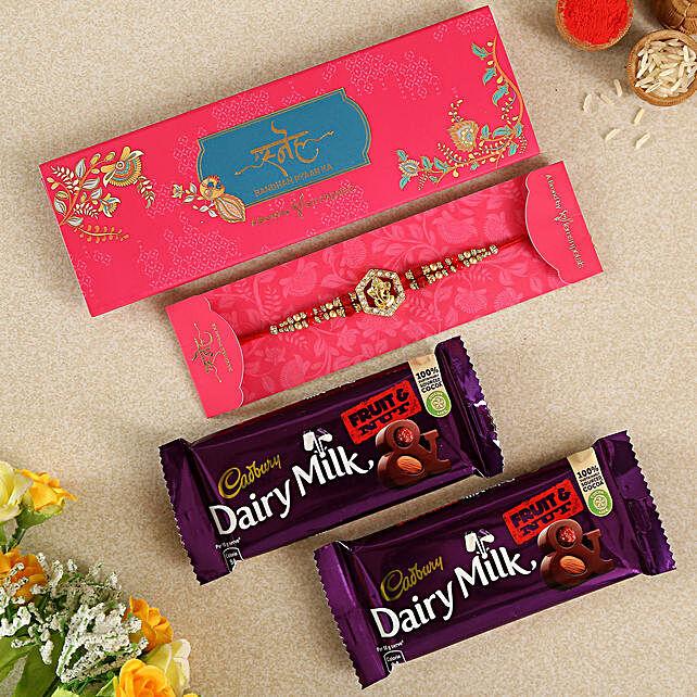 Ethnic Ganesha Rakhi And Chocolates