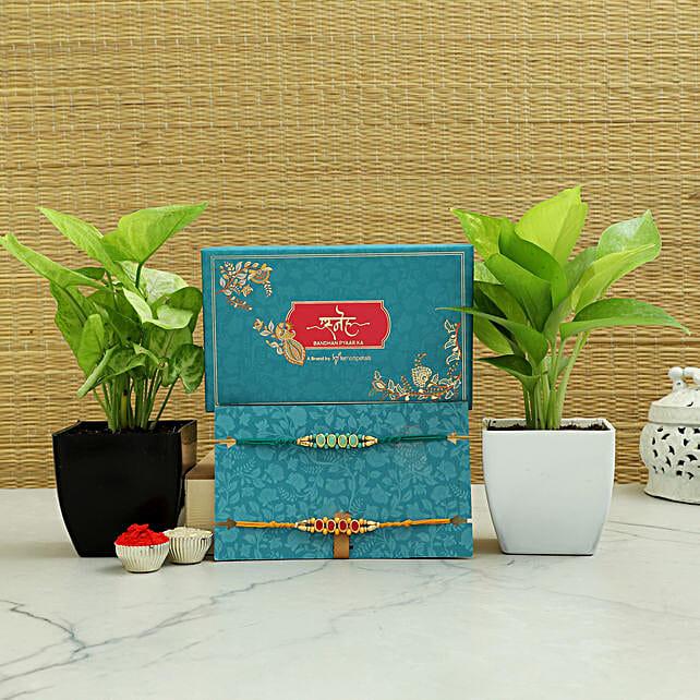 Ethnic Kundan Rakhis N Set of 2 Plants