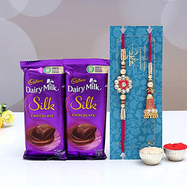Ethnic Lumba Rakhi Set and Dairy Milk Silk Chocolates
