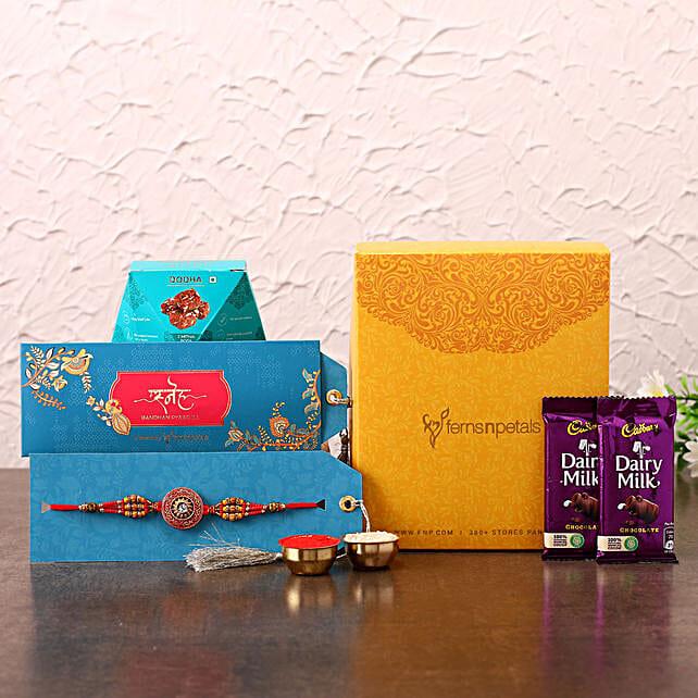 Ethnic Meenakari Rakhi With Chocolates and Chana Burfi:Rakhi Gift Hampers