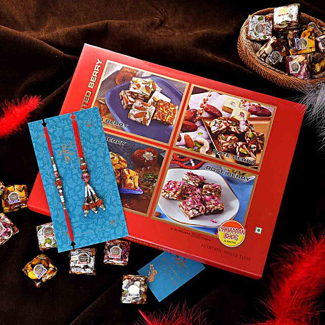 Ethnic Pearl Lumba Rakhi Set N Assorted Berry Bites