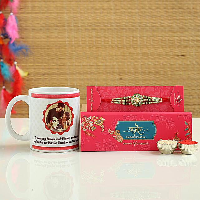 Ethnic Rakhi And Personalised Mug Hamper
