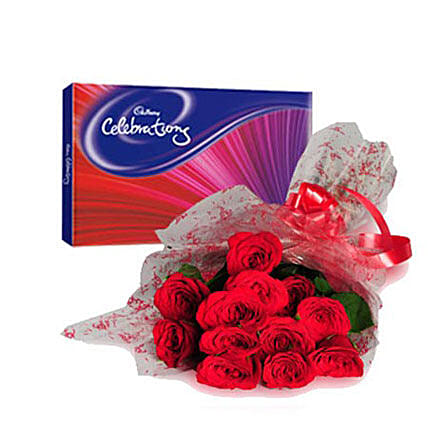 Bouquet of red roses and chocolates:Flower Delivery in Jalpaiguri