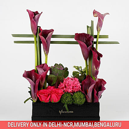 exclusive flower arrangement in black box