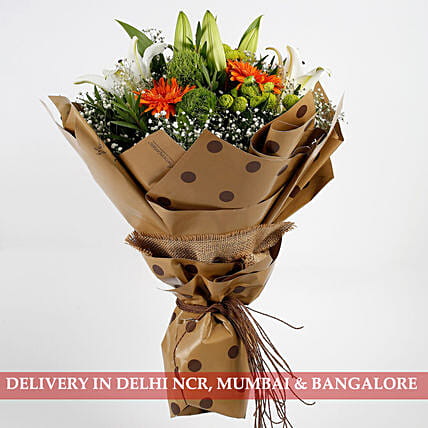 elegant flower with lovely lilies bouquet