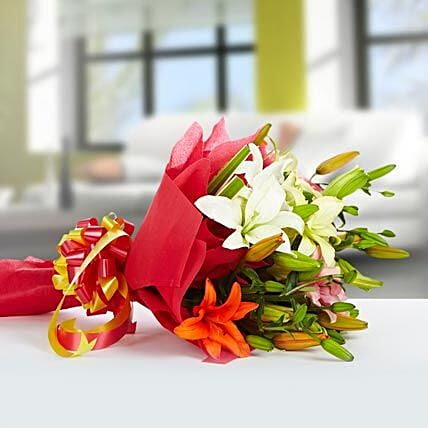 Exotic Mix - Bouquet of 12 Mix Lilies.
