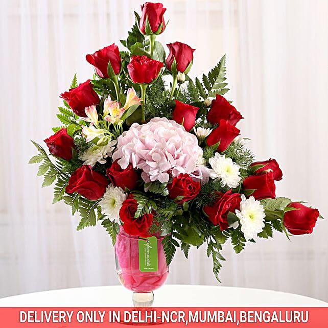 flower celebration in vase arrangement