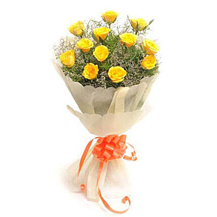 Exquisite - Bunch of 12 Yellow Roses in a paper packing.