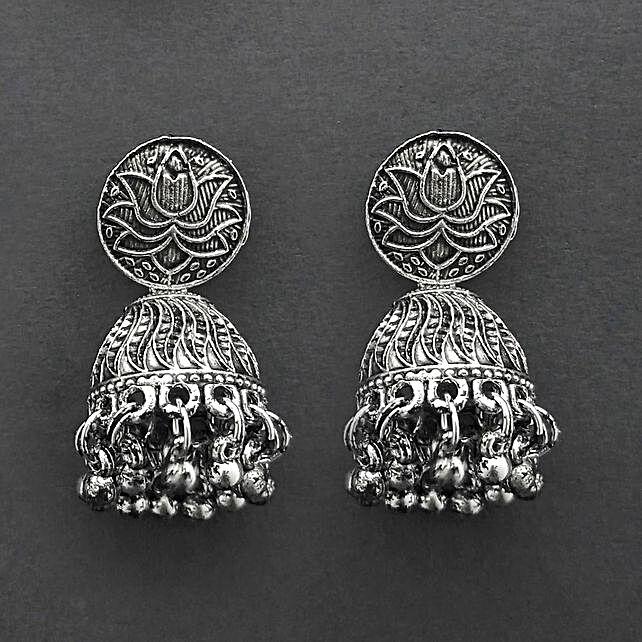 Extra Flair Oxidised Jhumki Earrings