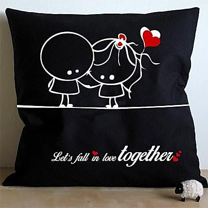 Falling In Love Cushion-black and white cushion Falling in love