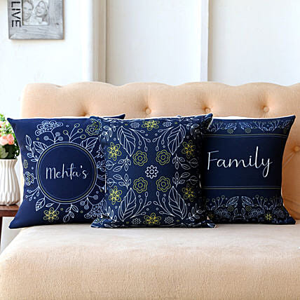 Family Personalised Cushion Cover Set Of 3:Personalised Cushions