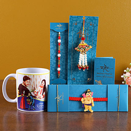 Beautiful Rakhi Set with Photo Mug Online:Cartoon Rakhi