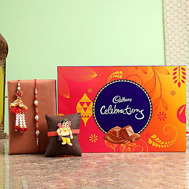 Family Rakhi Set With Celebrations Chocolate Box