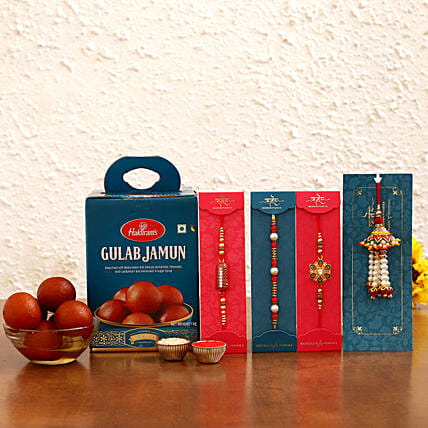 online Family Rakhi Set With Gulab Jamun Combo
