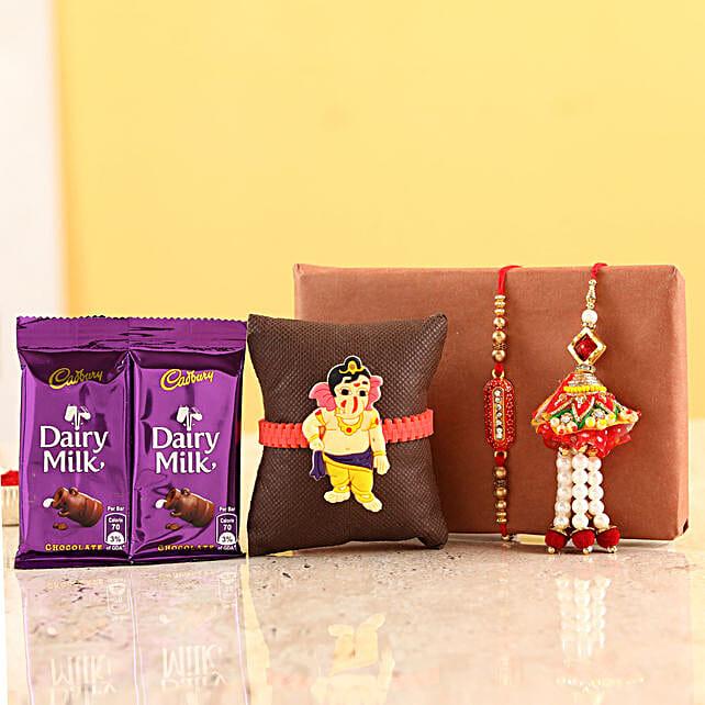 Family Rakhi Set With Two Dairy Milk Bars