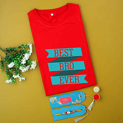 Fancy Rakhi And Personalised Name Red T-shirt