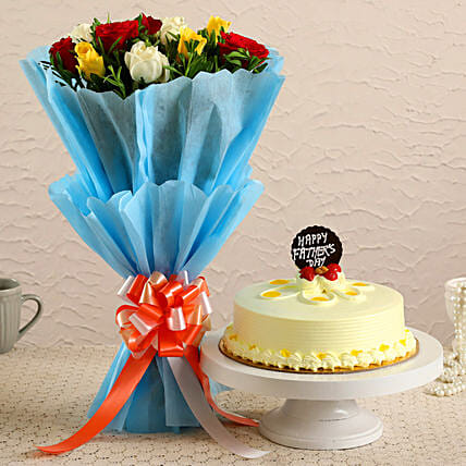 Father's Day Mixed Roses Bouquet and Cake