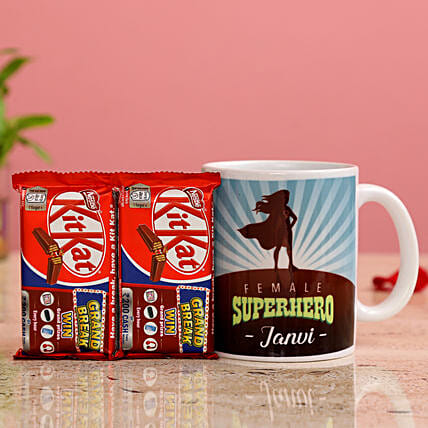 Female Superhero Personalised Mug KitKat Hand Delivery
