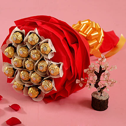 Ferrero Rocher Bouquet with Wish Tree for Her:Ferrero Rocher Chocolates