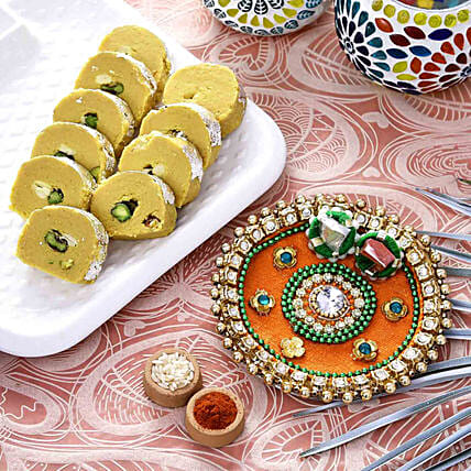 Festive Orange Pooja Thali With Batisa Combo:Bhai Dooj Combos
