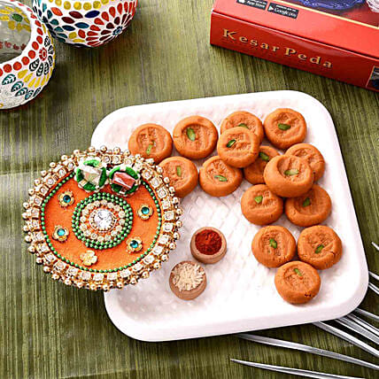 Festive Orange Pooja Thali With Kesar Peda Combo