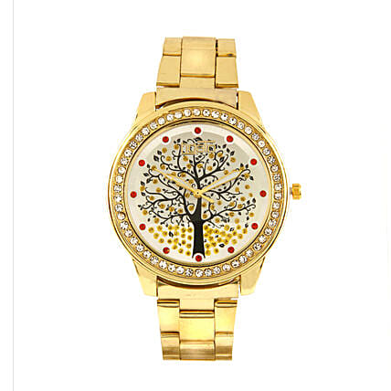 Fidato Golden Studded Watch For Women