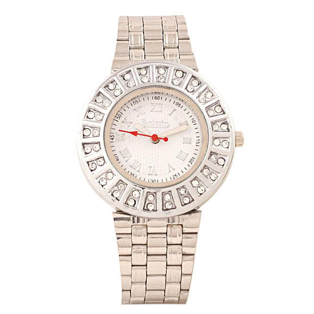 Fidato Silver Studded Watch For Women