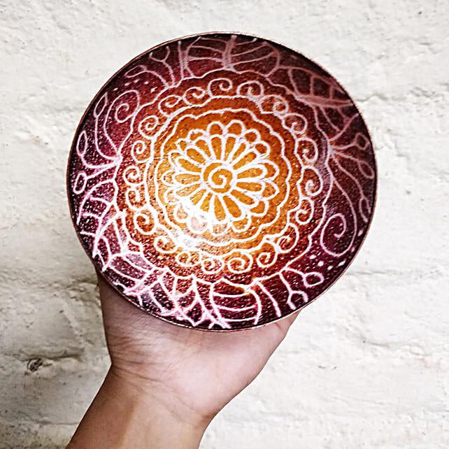 Online Fire Red Mandala Copper Bowl