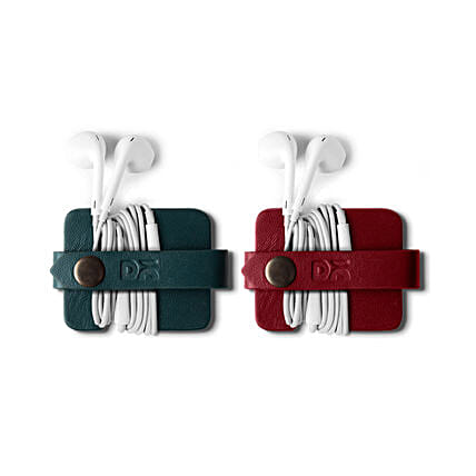 Flake Cable Wrap Red & Green- Set of 2:Leather Gifts
