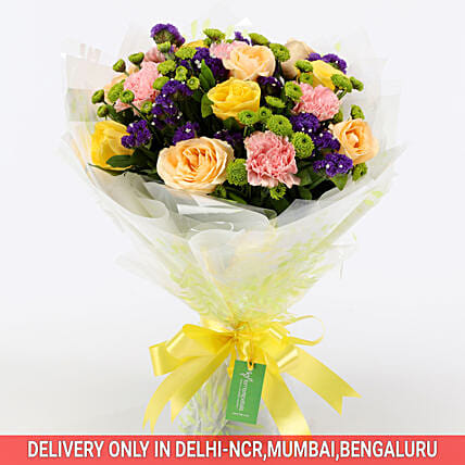 Buy Online Flamboyant Rose Bouquet